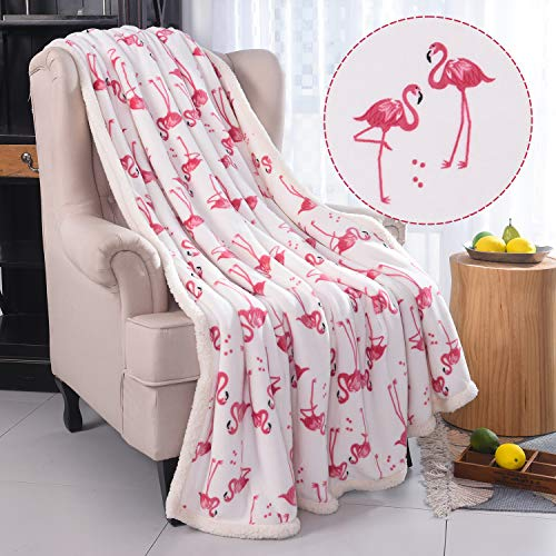 RHF Flamingo Fuzzy Blanket, Plush Blanket,Fluffy Blanket,Bed Throw Blanket ,Velvet Blanket ,Thick Fleece ,Cozy Blankets For Kids, Kids Blanket,Couch Blanket, Thick Fleece,Flamingo Gifts (Throw),White