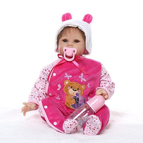 Nicery Reborn Baby Doll Réincarné bébé Poupée Doux Simulation Silicone Vinyle 22 Pouces 55cm Bouche Qui Semble Vivant Garçon Fille Jouet Vif réaliste Âge 3+ Boy Girl Pink Bear Dress Eyes Open
