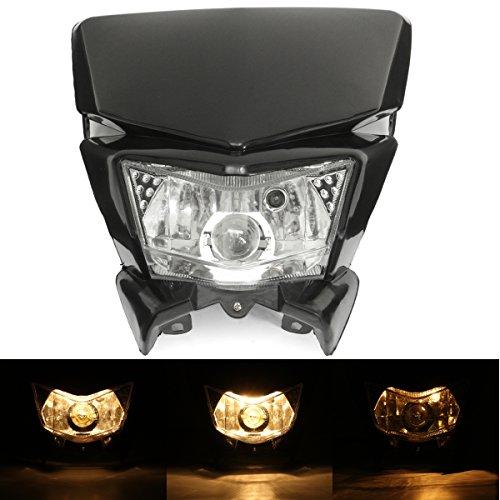 WCHAOEN 12V Motorrad Verkleidung Scheinwerfer Lampe Hi/Lo Beam Street Fighter Dirt Bike Universal Ersatzteile