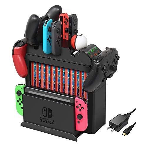 FFIT Ladestation für Nintendo Switch, Ladegerät für Switch Joy-Cons, Pro Controller oder Poke Ball Plus, multifunktionales Rack Storage Stand Kit für Nintendo Switch und anderes Zubehör