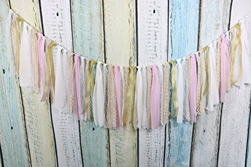 Lace Tassel Garland, Rag Tie Banner Already Assembled for Rustic Wedding Baby Shower Photo Backdrop Party Decor Nursery Decor Girls Birthday Decor Boho Chic Decor Home Decor 5Ft(White+Gold+Pink)