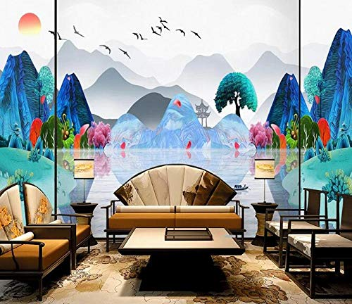 Wallpaper 3D Blue Splendid jiangnan Photo Wallpaper Living Room Sofa Bedroom Study Decorative Poster 150cmx105cm(59.1x41.3inch) PVC Wallpaper Wall Covering Wallpaper Non-Woven Fabric Wall Sticker