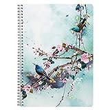 Clairefontaine 115587C - Un Cahier à Spirale motifs Floral/Oiseaux - A4 21x29,7 cm 148 Pages Lignées et marge papier Blanc 90g - Collection Sakura dream – 1 visuel foncé, 1 clair, livraison aléatoire