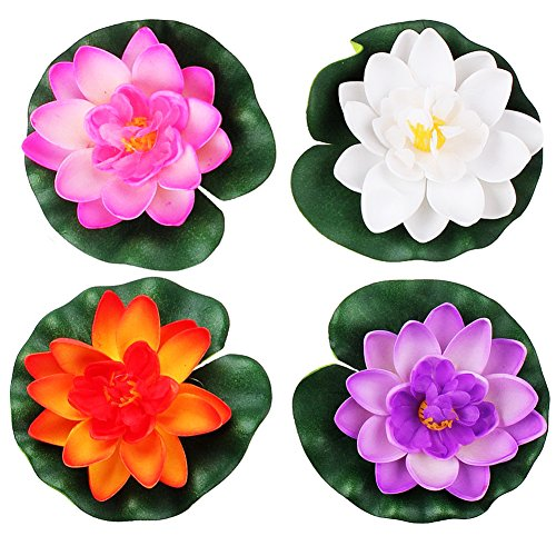 LEFV Floating Flowers Pond Decor Water Lily Lotus Foam Artificial Flower for Garden Pool Home Aquarium Weddings Holidays, Small (Set of 4)