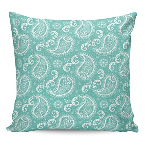 SunShine Day Cotton Linen Throw Pillow Covers 26'' x 26'', Paisley Wave Fill Pattern Square Cushion Case Pillowcase, Home Decor for Sofa Couch Bed Chair Green
