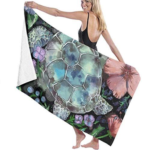 Las toallas de baño de microfibra súper suaves se utilizan para baños en interiores, piscinas de aguas termales y spa de hoteles,Manta de mujer de ducha de baño de secado rápido floral de tortug