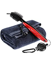 Zacro Golf Club Brush and Towel Kit ,Golf Club Cleaner With Loop Clip for Hanging on Golf Bag, Golf Groove Cleaning Tool , Golf Ball Cleaner Set