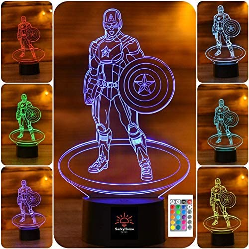 SERKYHOME 3D Illusion Night Lights for Kids with Remote Control 7 Colors Led Table Lamp Captain product image