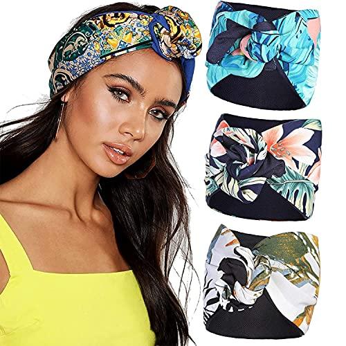 Diadema ancha con turbante - WELROD Diadema de alambre floral de 3 piezas Banda para el cabello Sombreros de turbante para mujer Pañuelos Diadema ancha ajustable boho (Set #2)