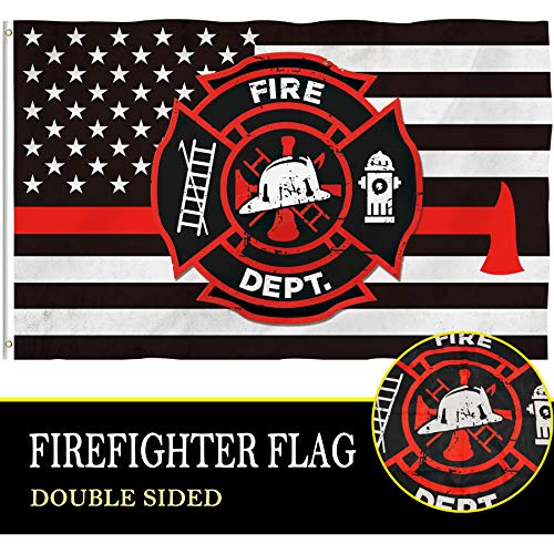 Bonsai Tree Thin Red Line Firefighter Flag 4x6 Ft, Double Sided and Double Stitched Polyester Police Flags with Brass Grommets, American Home Outdoor Banners Decorations Gifts