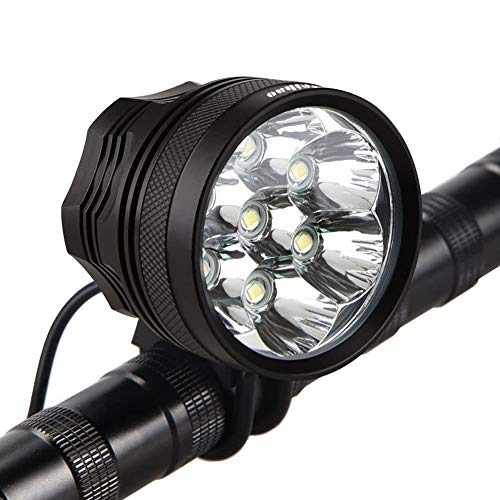 Weihao Bicycle Headlight, 10500 Lumens 7 LED Bike Light, Waterproof Mountain Bike Front Light Headlamp with 9600mAh Rechargeable Battery Pack, AC Charger