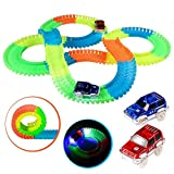 Glow Track, Kuultoy Twister Tracks, 220 PCS Magic Glow in the dark Tracks with 2 Race Cars