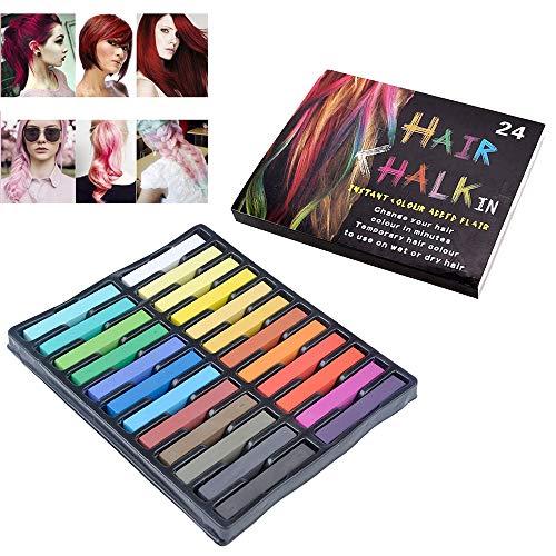 LKIUGD Temporäres Haar Kreidewaschbar Haarfarbe Sicher für Kinder und Jugendliche - für Partygeburtstag Mädchen 24 leuchtende Farben
