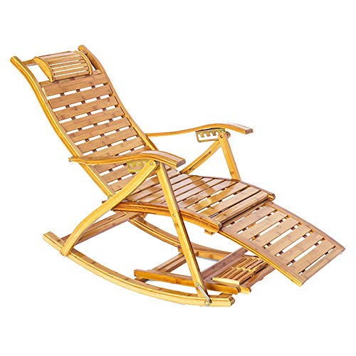 Bamboo Rocking Recliner with Armrest Backrest Headrest Folding Leisure Chair with Telescopic Foot Pedal Deck Chair Sun Lounger Adjustable for Garden Patio