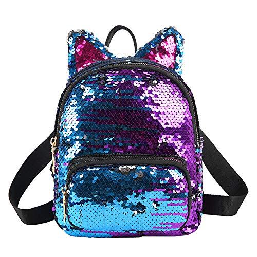 seawood Girls Sequins Ears Zipper Backpack Mini Durable School Bag Travel Pouch Navy Blue