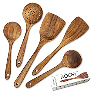 AOOSY キッチンツール5点セット 天然ミレシア木製 塊木(紫鉄刀木)から掘り出した接着剤なし しゃもじ フライ返し ターナー スキンマー おたま スープスプーン しゃくし さじ 調理器具 箱付き