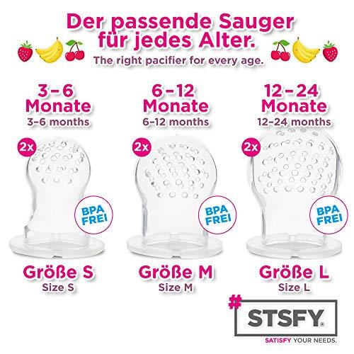 2 Fruchtsauger für Baby & Kleinkind + 6 Silikon-Sauger in 3 Größen – BPA-frei – Schnuller Beißring für Obst Gemüse Brei Beikost - 4