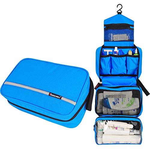 Japace® Beauty Case Sacchetto Cosmetic Borsa da Viaggio Organizzatore di Viaggio con Gancio, Grande Capacità, Portable per Attività Esterna in Viaggio D'affari 24.5 * 8 * 16cm---Blu
