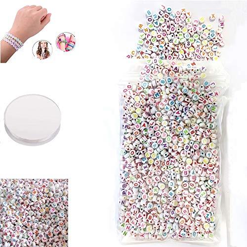 Alfabeto Redondo Cuentas 4 mm Redonda Cuentas de,para enhebrar en hilo y hacer pulseras, collares, llaveros y joyas infantiles(Alrededor de 1200 piezas)