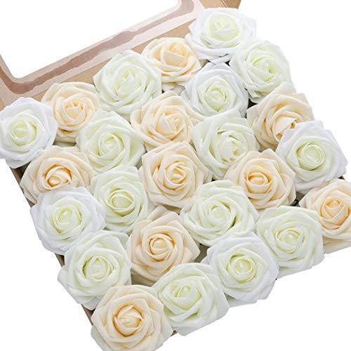 DerBlue – 60 rosas artificiales de aspecto real, rosas artificiales de espuma para ramos de boda, centros de mesa…