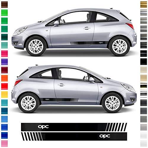 Auto-Dress® - Juego de pegatinas decorativas para Opel Corsa en el color deseado – Diseño: OPC