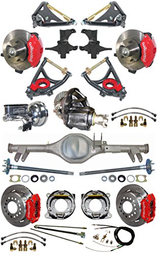 2' DROP SUSPENSION & WILWOOD BRAKE SET FOR 59-64 IMPALA, CURRIE REAR END, AXLES, 9' FORD POSI-TRAC 3RD MEMBER, RED CALIPERS, 11' ROTORS, SPINDLES, MASTER CYLINDER, BOOSTER, ARMS BEL AIR BROOKWOOD