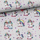 Unicorni 50 cm x 150 cm su grigio chiaro - tessuto di cotone per ragazze - 100%...