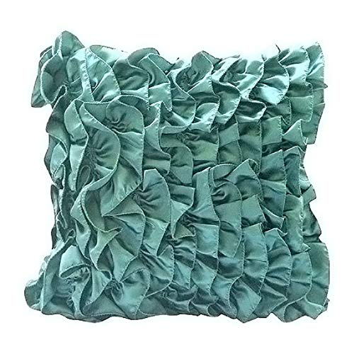 The HomeCentric Decorative Teal Blue Pillow Covers 16x16 inch (40x40 cm), Satin Throw Pillows for Couch, Solid Color, Ruffles, Modern Designer Pillow Covers - Vintage Teals
