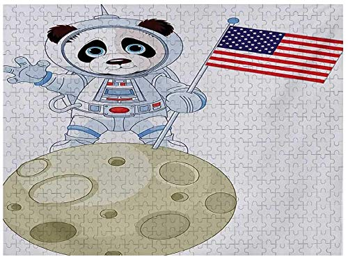 Panda Jigsaw Puzzles 1000 Piece, Panda Astronaut on The Moon Holding USA Flag Moonwalk Imagination Fantasy Picture, Red Navy White