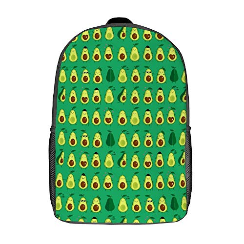 Men's Waterproof Laptop Backpack Cute Avocados Emoji Pattern Laptop Daypack Casual Travel Backpacks for Running Climbing