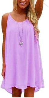 Mogogo Women's Spaghetti Strap Backless Chiffon Loose Fit Relaxed-Fit Dress