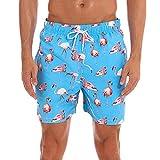 ZHYIF Herren Quick Dry Badeanzug Boardshorts mit Taschen Blue Pink Flamingo XLarge