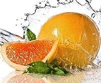 オレンジとミントの葉大人のための番号によるDIYペイント初心者抽象芸術アクリルキット寝室40x50cm(フレームレス)
