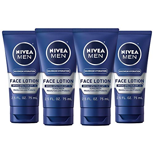 NIVEA Men Maximum Hydration Protective Face Lotion with SPF 15, 2.5 Fl. Oz., Pack of 4