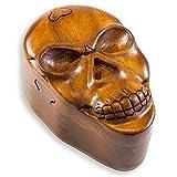 maDDma  Schatulle Trickbox Totenkopf Skull handgeschnitzt aus Soar-Holz 9 x 13,5 cm