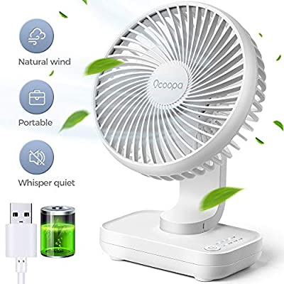 USB Desk Fan, 4000mAh Rechargeable Battery Operated, Table Fan 4 Speeds, 5inch Mini Portable Fan, with Strong Airflow Quiet Operation, Electricity Display, Easy to Disassemble, Desktop Fan White