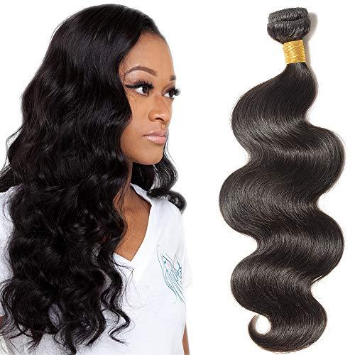"22""(55cm) SEGO 10A Extensiones de Cortina Brazilian Human Hair Bundles [Body Wave] Pelo Natural Humano Brasileño Rizado [1 Bundle,#1B Negro Natural]"