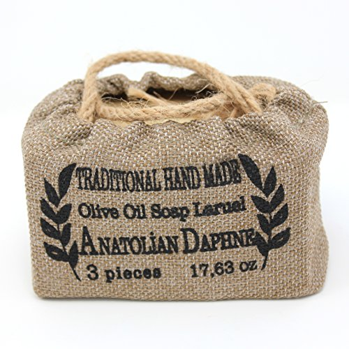 Anatolian Daphne Hand Made Olive Oil Soap Bar with Laurel (3-bar)