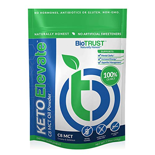 BioTrust Keto Elevate, Boosting Pure C8 MCT Oil Powder, Ketogenic Diet Supplement, Keto Coffee Creamer, Clean Energy, Mental Focus, Weight Management, 100% Caprylic Acid (20 Servings)