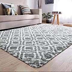 SUPER SOFT FEELING - Velvet surface and sponge interlayer gives this shaggy rug safe feature and ensured 4.5cm high pile achieves great texture and hand feeling. Size: 5 x 8 feet (153 x 244 cm). SUPERIOR QUALITY AREA RUG - Our fluffy area rugs are ma...