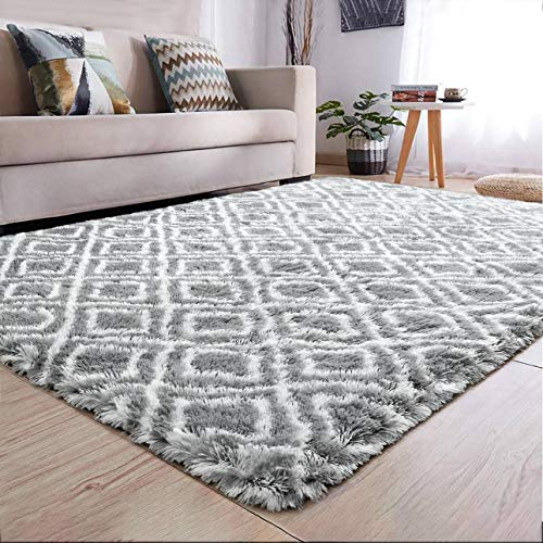 YJ.GWL Soft Indoor Large Modern Area Rugs Shaggy Patterned Fluffy Carpets Suitable for Living Room and Bedroom Nursery Rugs Home Decor Rugs for Christmas and Thanksgiving 5'x8'Grey Trellis 2