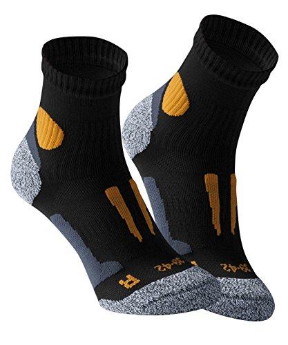 Vincent Creation VCA - Lot de 2 paires de chaussettes de course à pied - haute performance - rembourrée et élastiquée - pointe remaillée main,Noir-ora