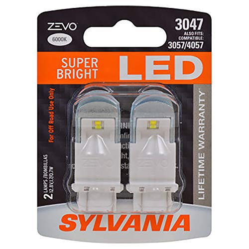 SYLVANIA - 3047 ZEVO LED White Bulb - Bright LED Bulb, Ideal for Daytime Running Lights (DRL) and Back-Up/Reverse Lights (Contains 2 Bulbs)