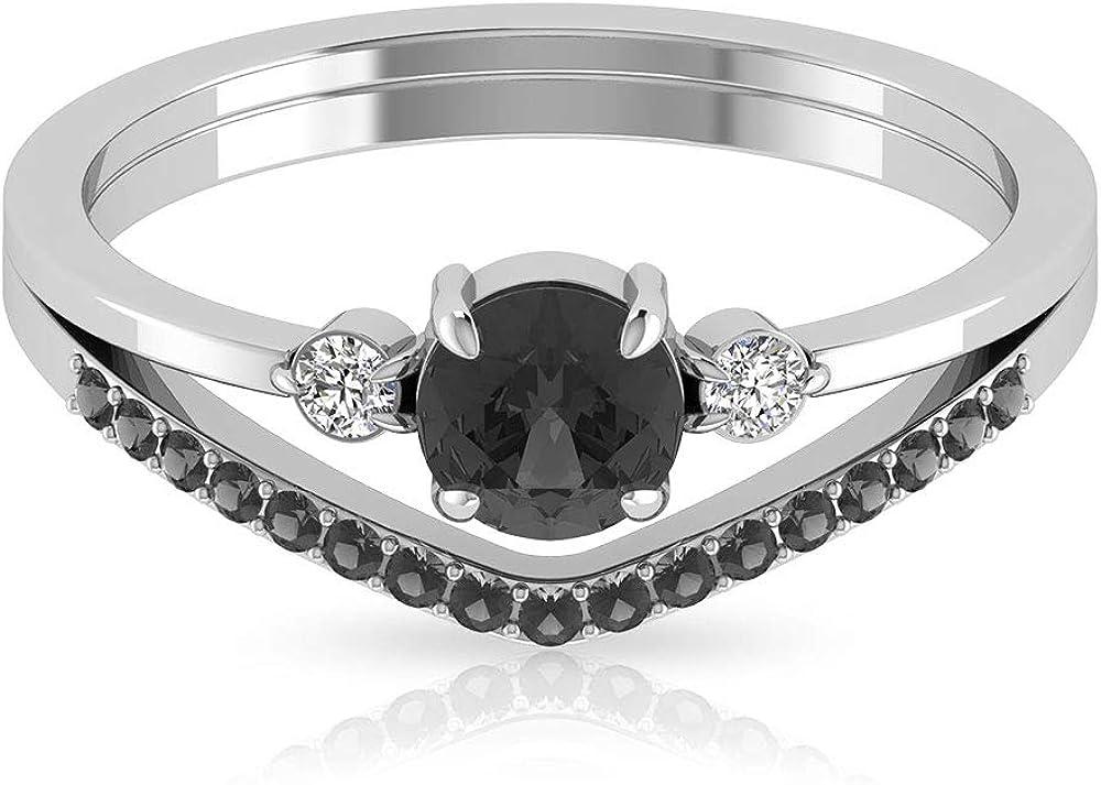 3/4 CT Black Onyx Solitaire Ring, HI-SI Diamond Ring, Chevron Engagement Ring, Gold Three Stone Ring, 14K Gold