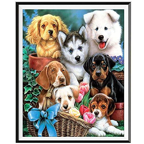 Diy 5D Kit De Pintura De Diamantes,Siete perros Diamond Painting 40x50cm,Rhinestone bordado de cristal de punto de cruz arte de artesanía ideal para bordado decorativo de pared