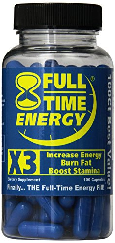 Full-Time Energy X3-100 Capsules - Increase Energy Burn Fat Boost Stamina - Best Natural Energy Booster Fat Burner Supplements Stamina Enhancer - Weight Loss Diet Pill Lose Weight for Men and Women