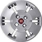 """Juego de 4 tapacubos de 13 pulgadas (38,1 cm) con logotipo """"Fiat"""" de color rojo. Producto no original"""