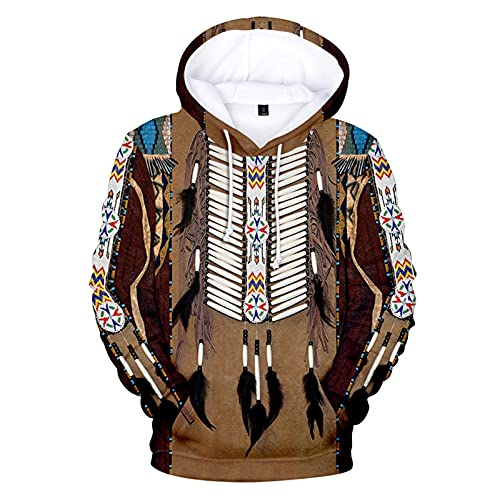 keepmore Felpa con Cappuccio Stile Bohémien Felpa con Cappuccio Stampata 3D Indiana aborigena Felpa con Cappuccio Casual Harajuku Streetwear