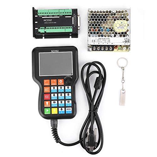 JKUNYU Controlador de movimiento CNC, NCH02 CNC Equipo de automatización controlador del sistema Motion Controller Junta + 24V Fuente de alimentación conmutada con fuente de alimentación y el disco U