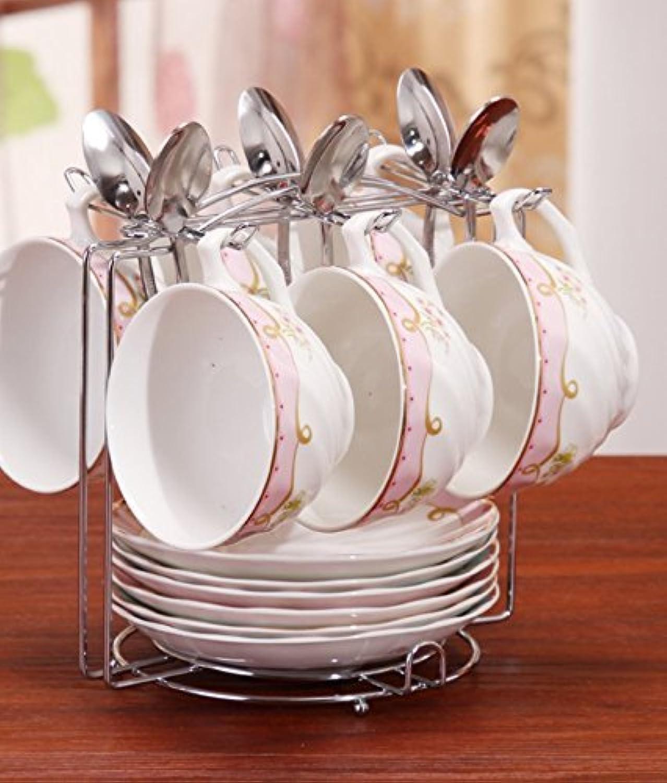 Tasse à café en Porcelaine avec Les Tasses de thé et Minimaliste d'entraîneHommest Ensemble sacue Tasse à café, 6 cintres en Rose